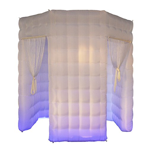 Sayok Octagon Inflatable Photo Booth White with 17 Colors Changing LED Lights and Inner Air Blower(2 Doors, 8.2ft Diameter) by Sayok