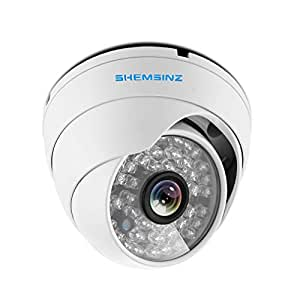 SHEMSINZ 1/3 3.6mm Lens High Resolution AHD/TVI/CVI 2.0MP 1080P Indoor/Outdoor Dome CCTV Security Camera,Day Night Vision,Built with OSD Cable Support for AHD/CVI/TVI/960H Signal DVR