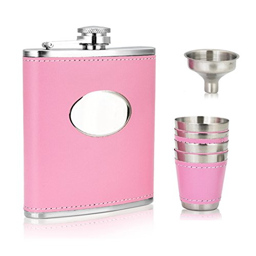 GENNISSY 7OZ PINK Hip Flask Set For Women - Girl PU Leather and Stainless Steel With Funnel and 4 Cups ()