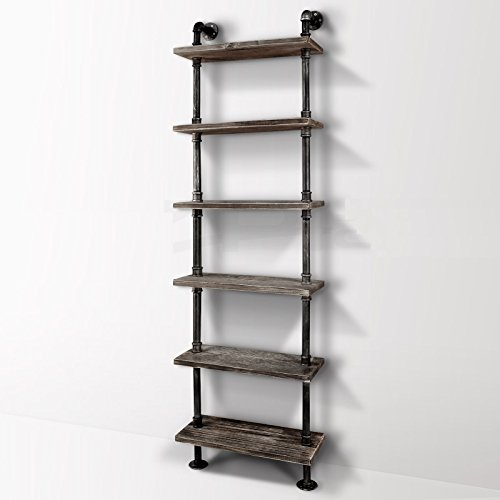 Diwhy Industrial Rustic Modern Wood Ladder Pipe Wall Shelf 6 Layer Pipe Design Bookshelf Diy Shelving