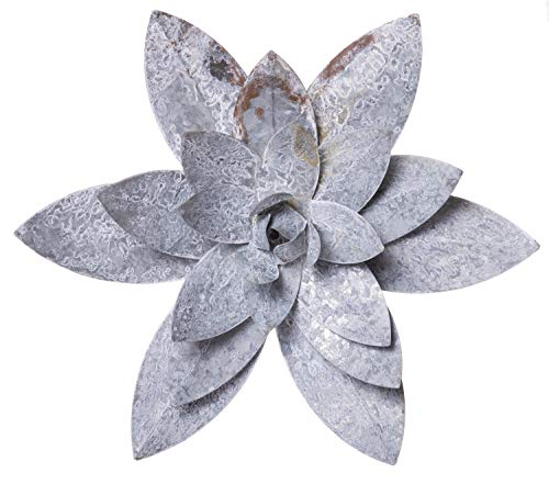 - Red Co. Large Water Lilly Hanging Decoration, Decorative Metal Wall Sculpture, Gray Zinc Finish, 10 Inches