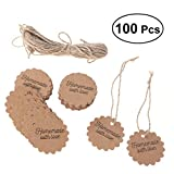 LUOEM 100pcs Kraft Paper Gift Tags with String Gift Favors Baking Food Package Tags Handmade with Love Card Hanging Labels (Circle, 5x5cm)