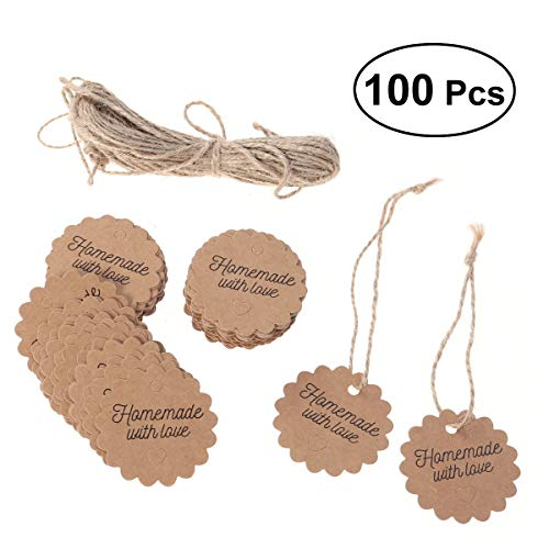 BESTOYARD 100pcs Kraft Paper Tags with Strings Gift Favors Baking Food Package Tags Handmade with Love Card Hanging Labels (Circle, 5x5cm) -