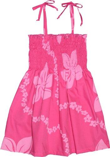 Spaghetti Girl Dress Hawaiian (Tube Dress - Girl's Little Lei Spaghetti Strap Elastic Tube Top Hawaiian Aloha Polyester Cotton Smocked Sundress in Pink - 3)
