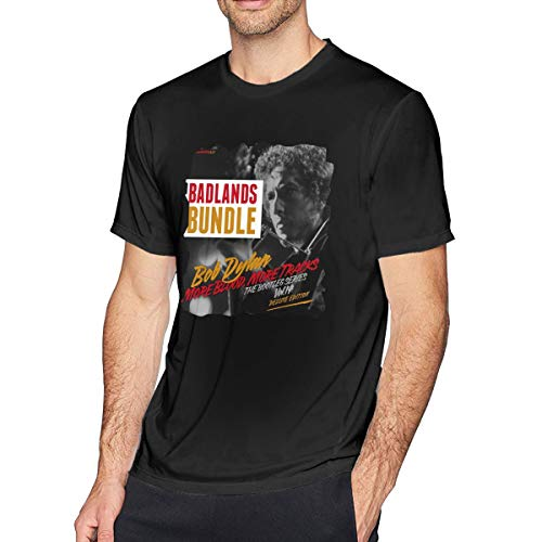 MYaige Bob Dylan Blood On The Tracks Casual Short Sleeve O-Neck Shirt Tee for Men Black 4XL