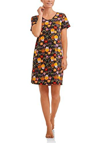 Womens Halloween Nightgown Long Sleep Shirt L/XL (14-18), Black -