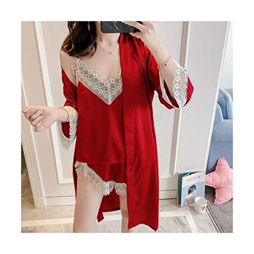 Sexy Lingerie Women Silk Lace Robe Dress Nightdress Sleepwear Kimono Pyjamas Set Red S UK 6 8]()