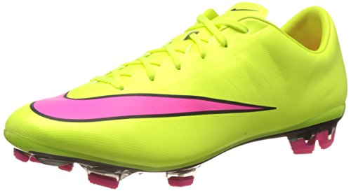Nike Mercurial Veloce II Leather FG Men's Firm-Ground Soccer Cleat (12) Volt/Hyper Pink/Black