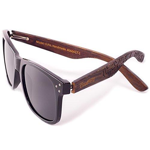 Wayfarer Polarized Sunglasses For Men - Wood Temple 100% UV Blocking Lenses + Case