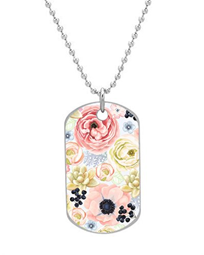 Udoosun Anemones Ranunculus Succulents And Wild Privet Berry Custom Personalized Aluminum Oval Pet Dog Tag Id Necklace Neck Tag Charm - Oval Tag Pendant Dog