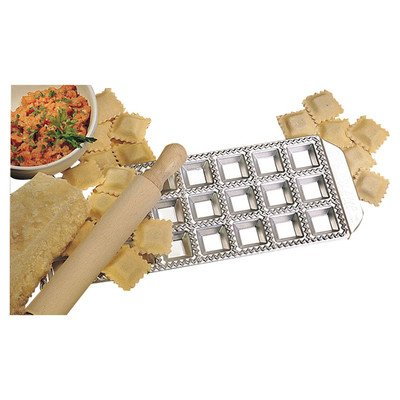 Miniature Ravioli Tray with Wooden Roller By Imperia - Italian Stainless Steel - Makes 24 Mini Squares (127-24)