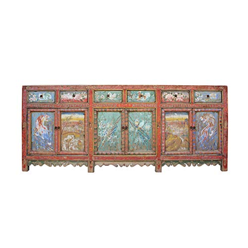 Chinese Distressed Red Graphic Long Sideboard Console Table Cabinet Acs4588 from Table & Dining Set