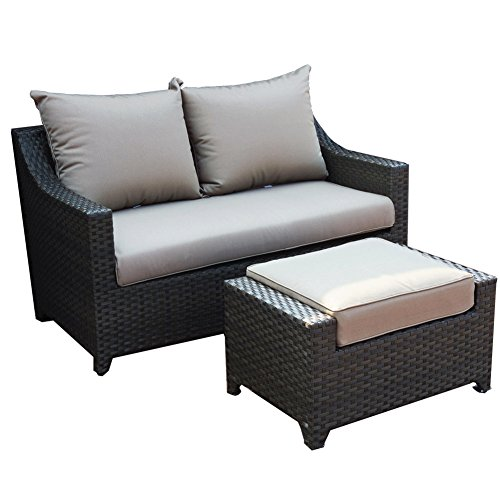 (Abba Patio Loveseat and Ottoman Set with Cushions 2 Piece Outdoor Wicker Sofa Furniture Set, 55.5'' x 35.5'' x 34'')