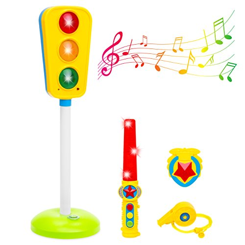 Best Choice Products Toy Traffic Light w/Sound, Whistle, Badge, and Wand for Kids, Children - Multicolor