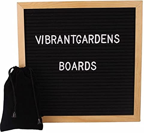 Letter board - Changeable 290 Letters With 100% Oak Wood Frame | Vintage Wooden Message Board (10x10, black) Canvas - Message Board Letter