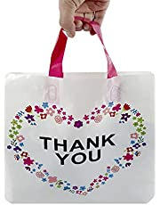 SES.CO 12x16 Die-Cut Handle Plastic Thank You Floral Merchandise Shopping Bags,Pink,100 Count (Beige with Soft Loop Handle)