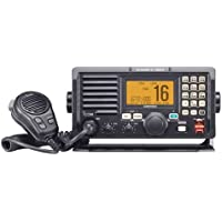 Icom M604A Marine VHF Radio with Built-In Hailer, Alphanumeric Keypad and Front Mount Microphone (Black)