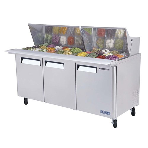 Basic Sandwich/Salad Prep Table - Mega Top Unit, 3 Doors, 23 Cu. Ft, 1/2 HP