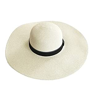 Hats Women's Summer Cool Straw hat Lightweight Sunscreen Beach hat Fashion (Color : Beige)