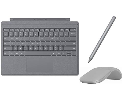 Microsoft Surface Pro Type Cover with Trackpad, Mechanical Key, Surface Pen and Arc Mouse Business Accessories Combo, for Surface Pro 6, Pro, Pro 3, Pro 4 (Platinum)
