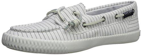 (SPERRY Women's Sayel Away Pin Stripe Sneaker, White/Black, 7)