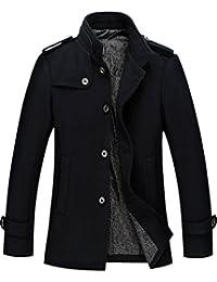 Men's Stylish Single Breasted Wool Blend Pea Coat Mutiple Colors