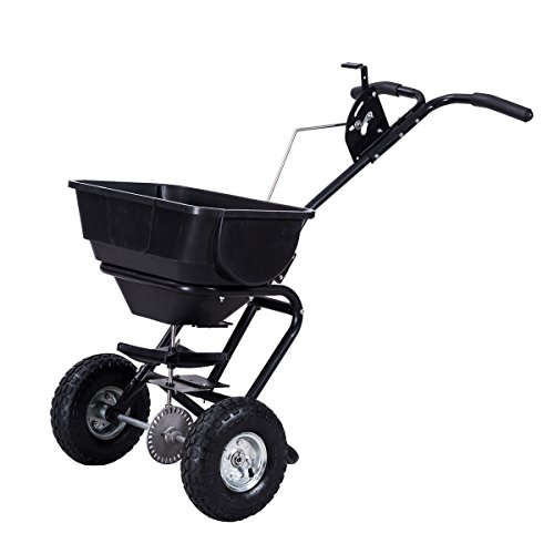 AK Energy X-Large Hopper Lawn Broadcast Spreader Garden Plant Seeder Push Cart Fertilizer 55Lbs Capacity