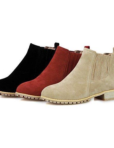 5 Botas Cn38 Punta La Eu38 Red Vestido Redonda us6 Zapatos Eu37 Robusto Uk5 Negro Rojo us7 A Moda Mujer De 5 Uk4 5 Cn Casual Xzz Cn37 Beige Tacón Beige 5 Vellón 7 5 wzBXg0Xq
