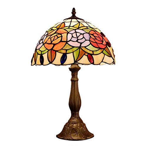 (Vintage Tiffany Styled Table Lamp Peony, 12-Inch Stained Glass Yellow Orange Purple Floral Lampshade Desk Lamp for Bedroom Bedside Lamp, 110-240V)