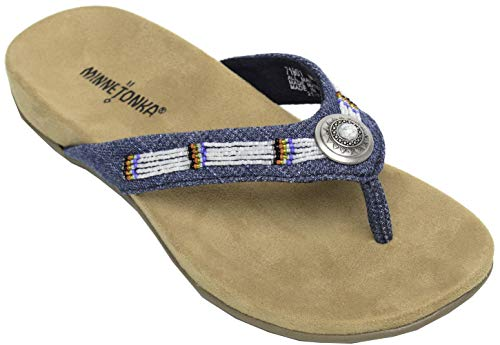 - Minnetonka New Women's Minnie Thong Sandal Blue Denim 8