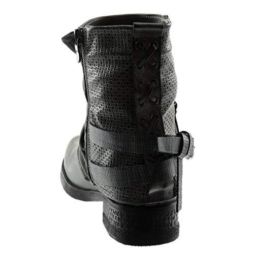 Fourrée Cm matière Mode 5 Femme Intérieur Fermeture Motard Talon Chaussure Gris Bloc Zip Bottine Angkorly Couverte Lanière Bi Tréssé 3 qaxXU5fpw