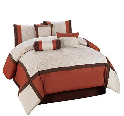 HGS 11-Pc Quilted Diamond Square Patchwork Modern Comforter Curtain Set Rust Orange Brown Beige Queen