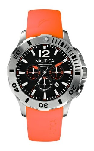 Nautica Men's A16567G Black Chronograph Dial Orange Silicone Strap Watch