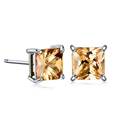 GULICX 7mm Cushion Cut Cubic Zirconia Stud Earrings Orange White Gold Tone