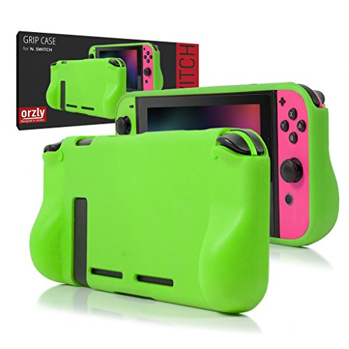 Orzly Comfort Grip Case for Nintendo Switch - Protective Back Cover for use on the Nintendo Switch Console in Handheld GamePad Mode with built in Comfort Padded Hand Grips - GREEN