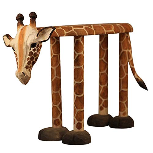 Solid Wood Hand-Carved Stool, Rest for Shoe Bench, Giraffe Shaped Seat for Adult Children