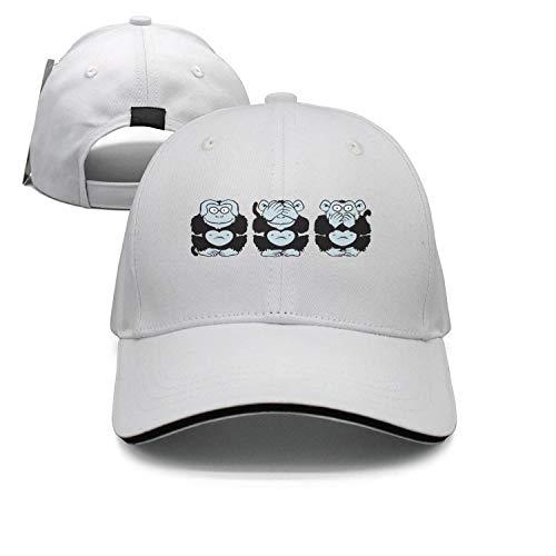 Muexxxv Three 3 Wise Monkeys1 Baseball Hats Unisex Designer White Custom Adjustable ()