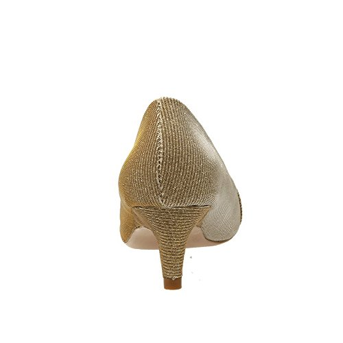 AllhqFashion Mujer Puntera en Punta Puntera Cerrada Tacón Alto Material Suave Sólido Cremallera De salón Gold