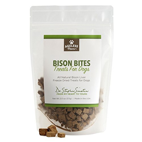 Freeze Dried Bison Treats - Ageless Paws Bison Liver Freeze Dried Treats for Dogs 2oz
