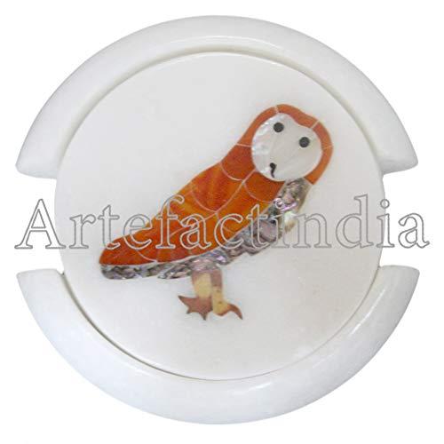 (Artefactindia Round White Marble Inlay Coasters Beautiful Owl Inlaid Semi Precious Stones Kitchen Ware 4
