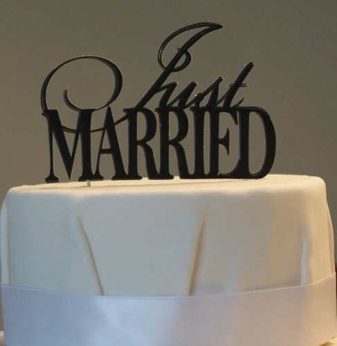 All About Details Black Just-Married Cake Topper