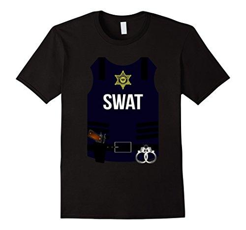 Swat Costume Ideas (Mens SWAT Halloween Costume Shirt - Police Cop Men Women Youth 2XL Black)