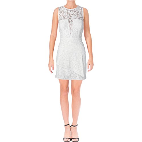 BCBG Max Azria Womens Lace Tiered Cocktail Dress White 12 Bcbg Lace Dress