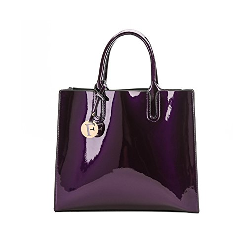 Women Letter Coolives Purple F Handbag Square Tag with Metal PqTndTHUwA