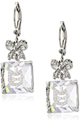 Betsey Johnson Pave Bow and Cat Cubic Zirconia Gold Drop Earrings