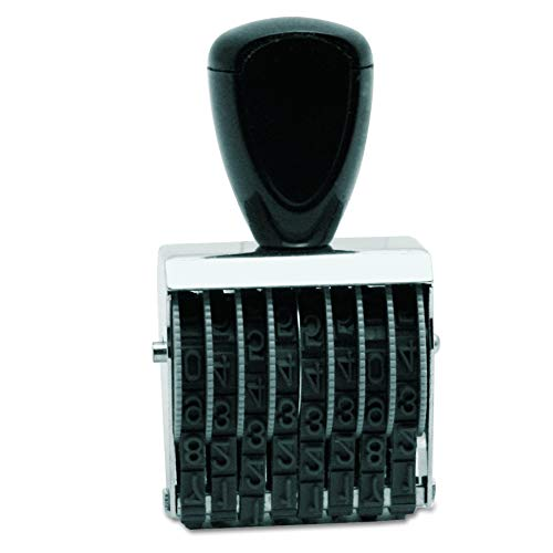 Traditional 8 Digit Rubber Number Stamp, Type Size 1, Black (RN018) ()