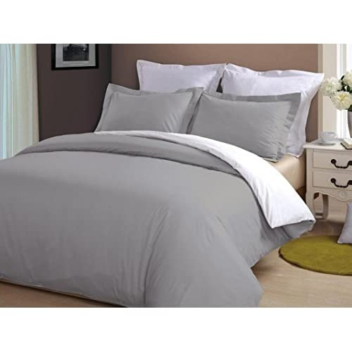 Wholesale Kotton Culture Luxurious Reversible Duvet Cover With Zipper Closure & Corner Ties Hypoallergenic 100% Egyptian Cotton 600 Thread Count (Silver & White, Queen/Full) Solid By for sale