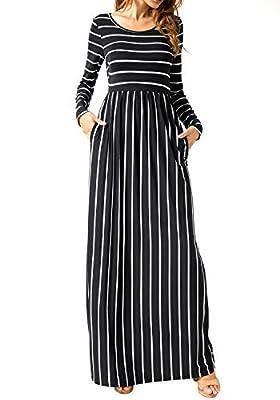 levaca Women's Long Sleeve Pleated Pockets Loose Casual Maxi Long Dress