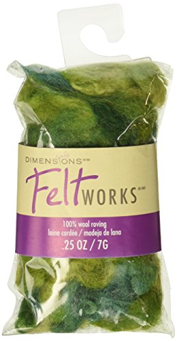 Dimensions Feltworks Roving-Variegated Olive Curly