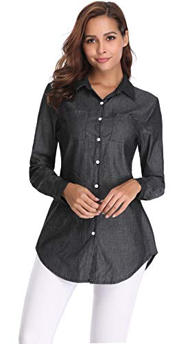 fd2a5ced3 Argstar Women's Long Chambray Shirt Button Down Tunic Long Sleeve Blouse  Jeans Top (XS~